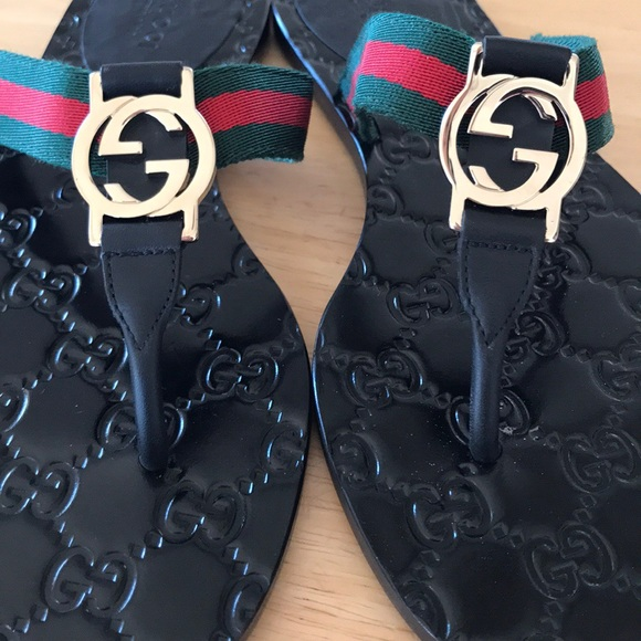 1376ab96a2fd5a Gucci Shoes - Authentic Gucci GG WEB THONG SANDALS💚❤ 💚